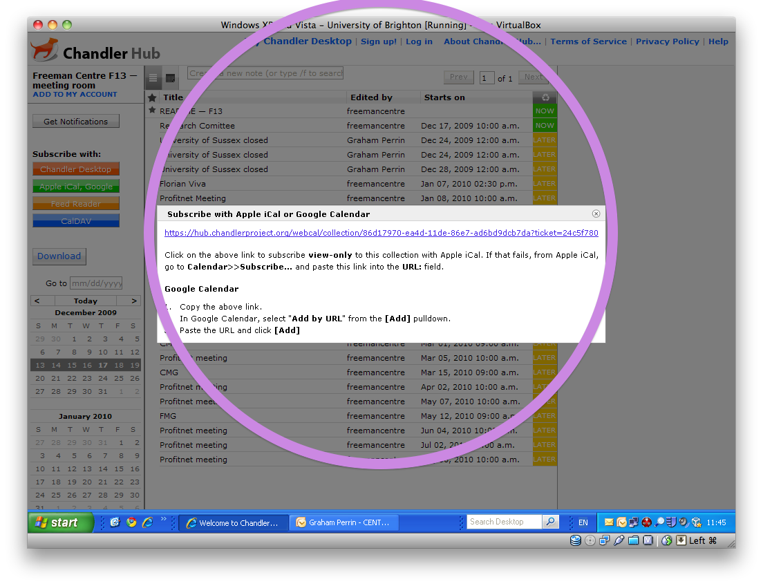 Screen shot of a ticket, focus on webcal