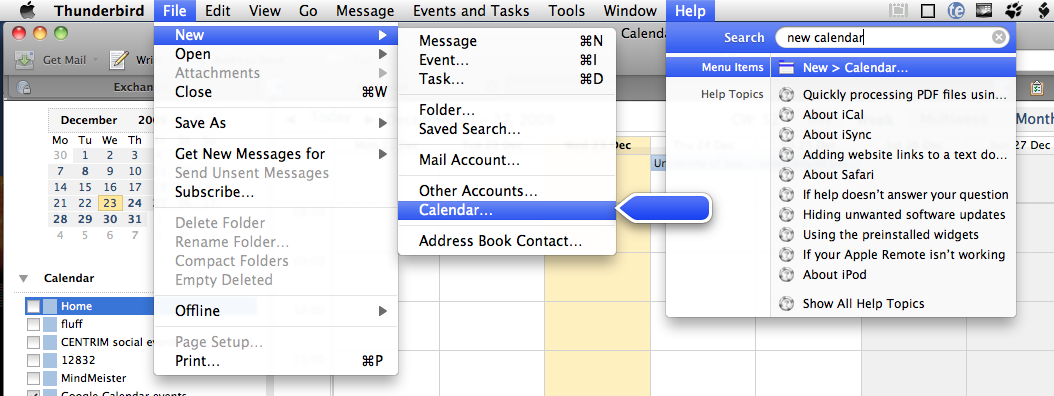 Thunderbird/Lightning File menu route to add a calendar