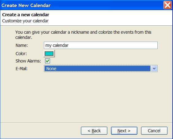 initial calendar properties dialogue in Lightning