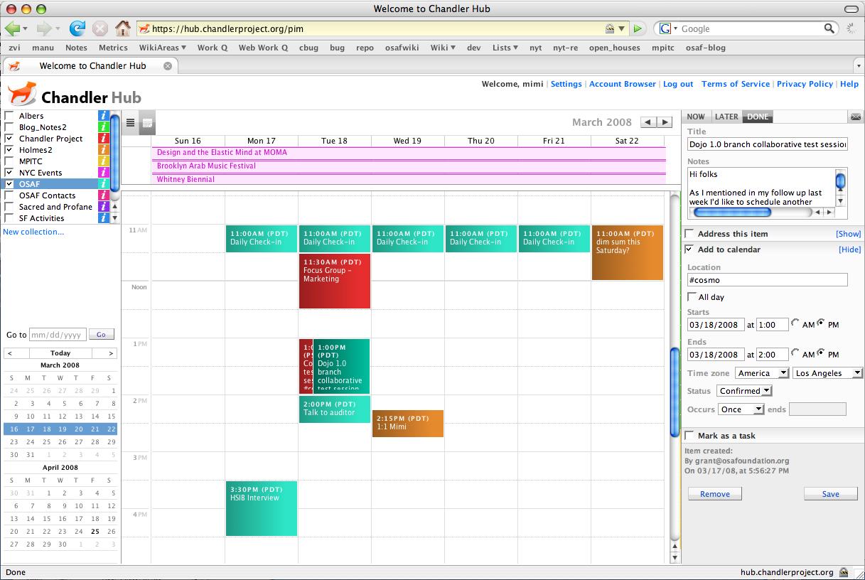 Calendar on the Web